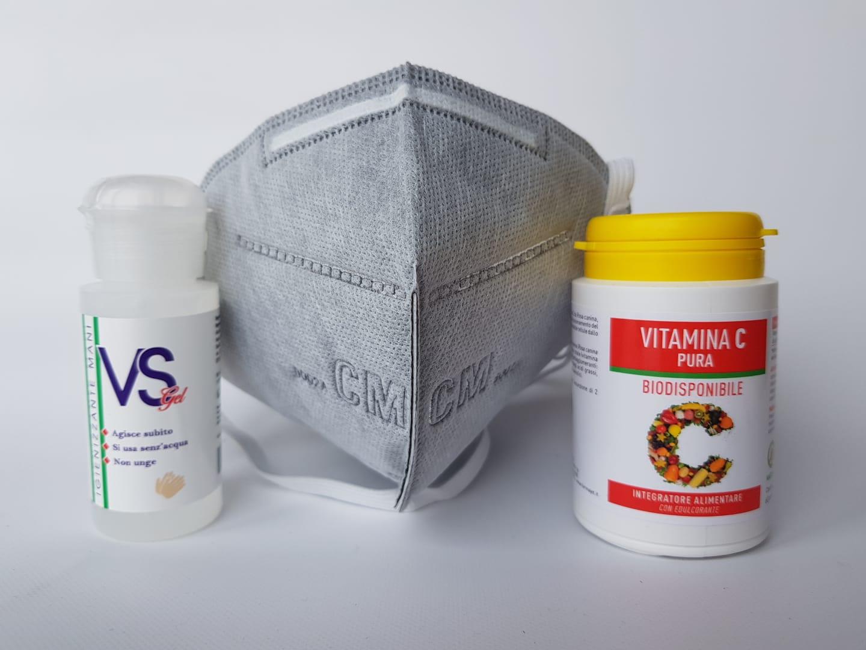 Kit Difesa 1 Mascherina mod.6002A  1 Gel Igienizzante da 50 ml e 1 Vitamina C Pura 60 Compresse da 900mg