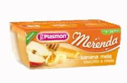 PLASMON MERENDA BANANA MELA BISCOTTO E MIELE - DA 6 A 36 MESI - 2 x 120 G